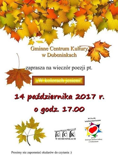 Wieczór poetycki w Gminnym Centrum Kultury w Dubeninkach 14-10-2017