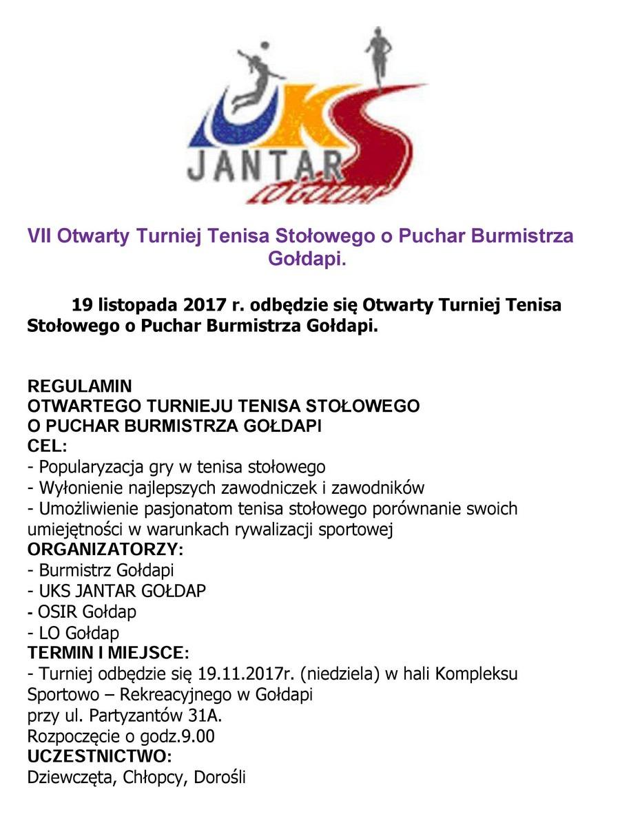 Turniej tenisa stołowego 19-11-2017