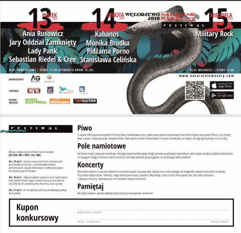 Bilety na Naturalnie Mazury Festiwal Węgorzewo 2018 do nabycia w Centrum Informacji Turystycznej