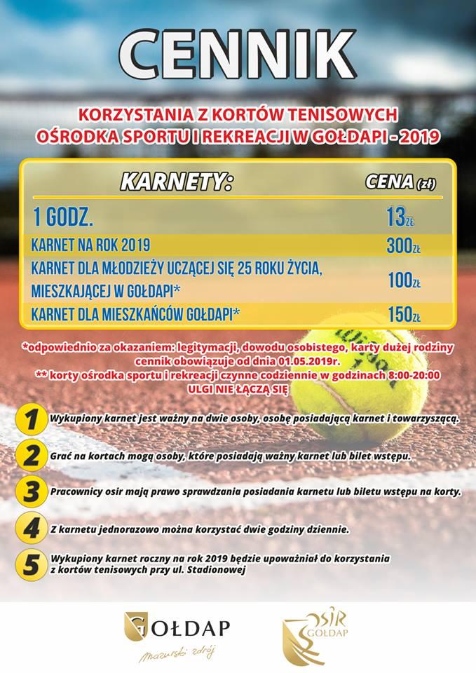Cennik kortów tenisowych OSiR w Gołdapi
